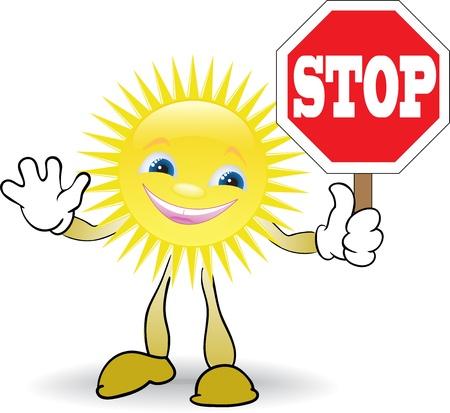 astronomie: Cartoon-Sonne, die rote STOP-Schild Illustration