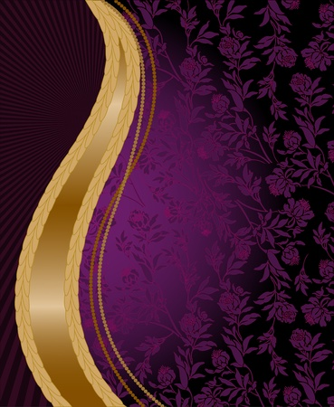 solemn: solemn purple floral background with vertical golden wave Illustration