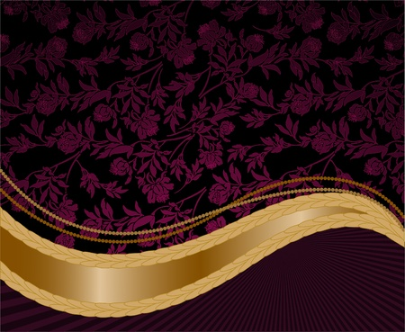 solemn purple floral background with a golden wave Vector