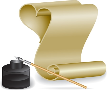 Roll of old paper and feather in the inkwell Vector