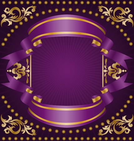 vintage frame of the two silk ribbons and gold ornaments Vector