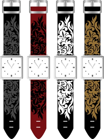 set of four watches with colorful straps Vector