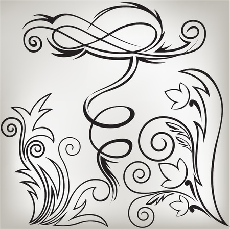 accent abstract: illustration set of swirling  decorative floral elements