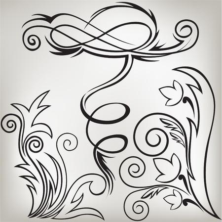 vertical divider: illustration set of swirling  decorative floral elements