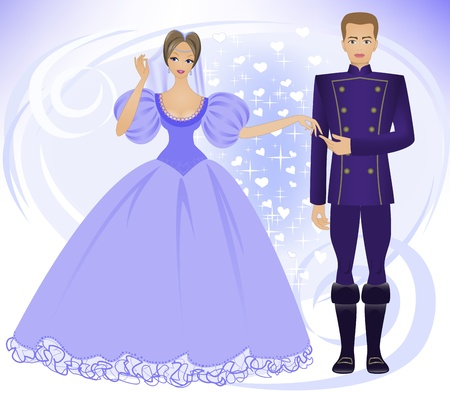 beautiful  prince and princess on an abstract blue background Vector
