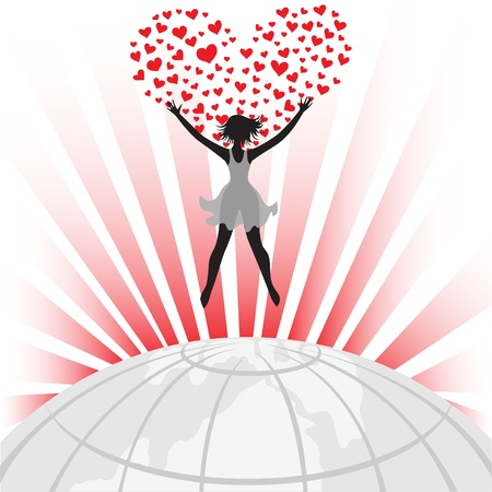 woman jump: female silhouette and a big heart over the globe Illustration