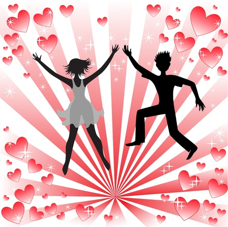 silhouette of a loving couple on the radiant background Stock Vector - 9529048