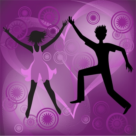 Couple dancing on an abstract purple background Vector