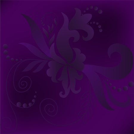 purple background square with a gradient of plant composition Vector