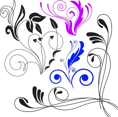 Vector illustration set of swirling flourishes decorative floral elements Stock Vector - 9556601