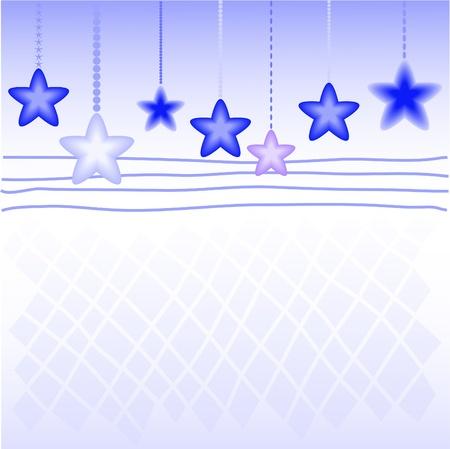 festiveness: Blue Christmas star on the checkered background Illustration