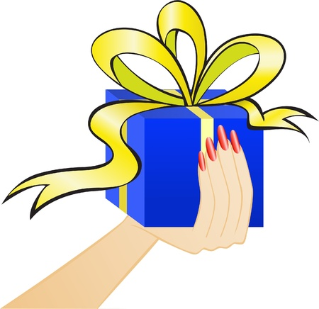 blue gift box with a yellow bow in the women's arm Stock Vector - 9556600