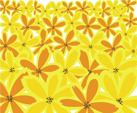 abstract floral background from orange and yellow flowers Stock Vector - 9556613