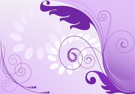 purple abstract background with floral elements Illustration