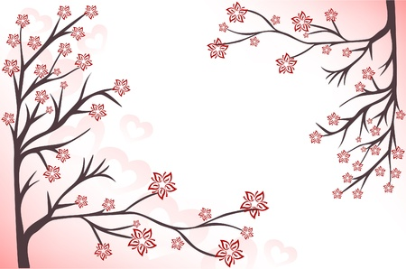 abstract background with pink flowering branches and hearts Vector