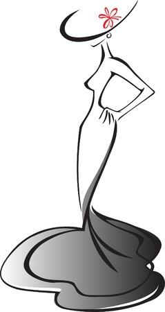 silueta de una mujer esbelta en traje y sombrero con lazo rojo Ilustración de vector