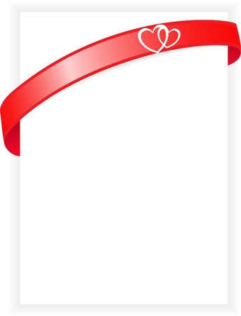gloss banner: white sheet with red ribbon and two hearts
