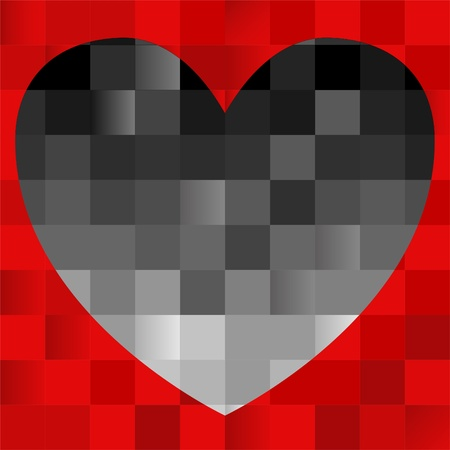 abstract red background with a black heart of the squares Vector