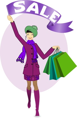 beautiful girl with shopping bags walking on sale Vector