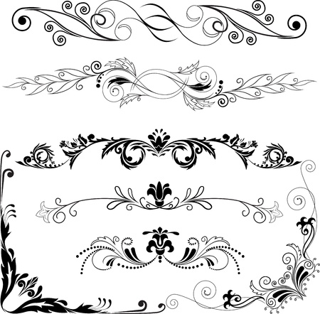 Vector illustration:  set of decorative horizontal and angular elements for design Stock Vector - 9556639