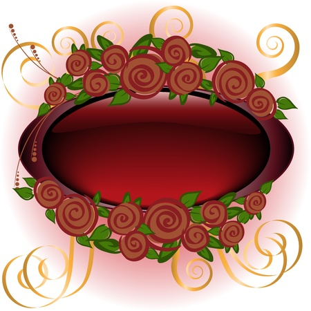 Oval shiny frame with stylized roses Vector