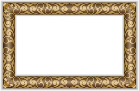 rectangular gilt frame in the old style Vector