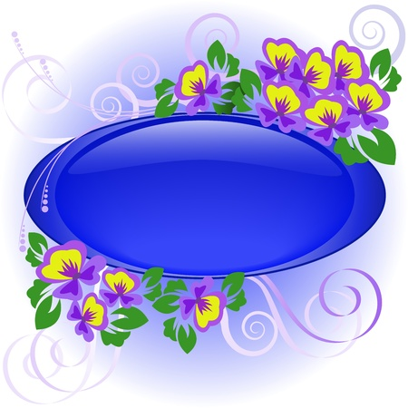 pansy: oval blue frame of the bouquet of violets Illustration