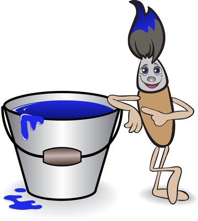 finger paint: cartoon brush with a big bucket of blue paint