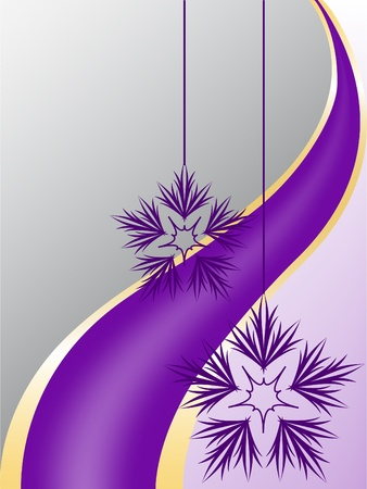 asymmetrical  gray and purple background with snowflakes and a purple ribbon Stock Vector - 9604117