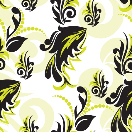 abstract black-and-green floral seamless pattern Stock Vector - 9604108