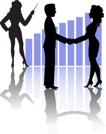 silhouettes of business people shaking hands against a background of the chart and a girl with a pointer Vector