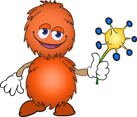 cute fluffy orange creature with an exotic plant Vector