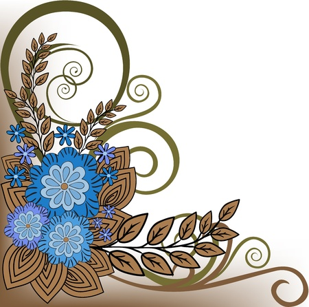 asymmetrical: Asymmetric plant composition of blue flowers and brown leaves Illustration