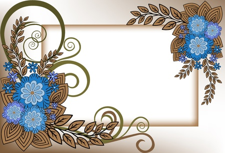 beautiful frame of the blue flower composition Vector