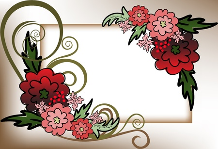 beautiful frame of the red flower composition Vector