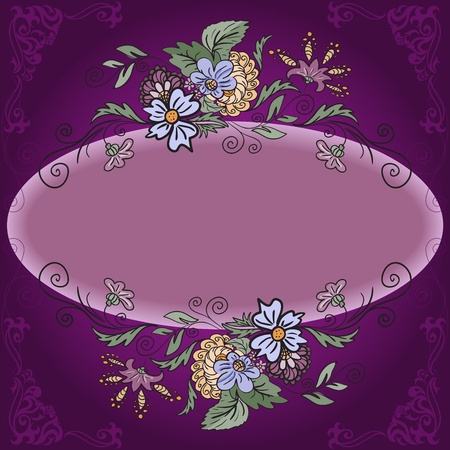 Dark purple background with ornaments and floral frame Vector