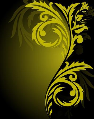 solemn: fondo negro abstracto con un hermoso Adorno amarillo a la derecha Vectores