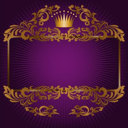 porpora: grande cornice di ornamenti in oro e una corona su uno sfondo viola Vettoriali