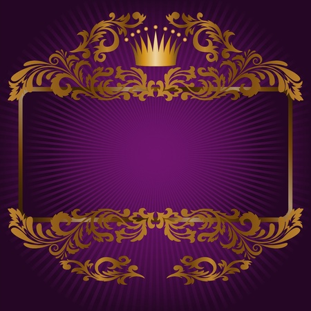 royal background: great frame of gold ornaments and a crown on a purple background
