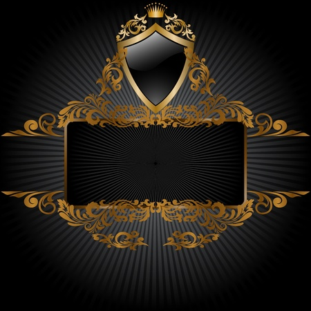 horizontal banner and a frame with gold ornaments and a shield Vector