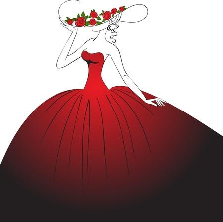 mujer con rosas: mujer con un sombrero con rosas y exuberante, largo vestido Vectores