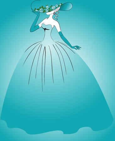 Woman in gloves and a long blue dress Vector
