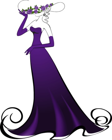 traje de gala: Mujer de guantes y un elegante vestido largo morado Vectores
