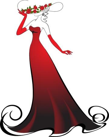 traje de gala: Mujer de guantes y un elegante vestido largo rojo Vectores