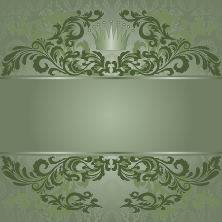 vintage green background with florid ornamentation