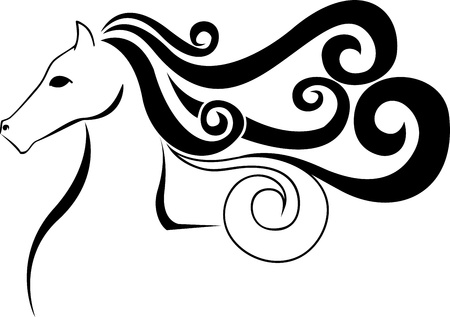 black silhouette of a stylized horse head