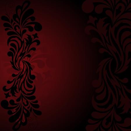 Belle ornement noir sur un fond rouge foncé