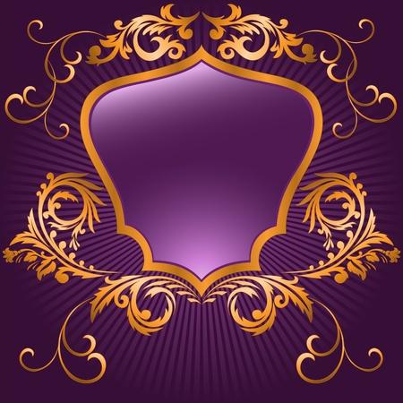 gild: a forma di scudo in una cornice dorata su sfondo viola