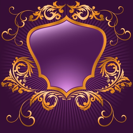 shaped shield in a gilded frame  on purple background Vector