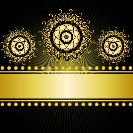 lotus effect: gilt border with three circular ornaments on a black background